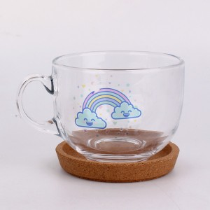 chubby round clear glass milk tea juice decal mug with tray