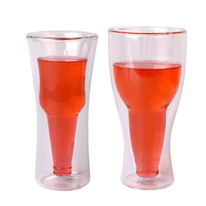 400ml double wall borosilicate glass cup for wine/beer