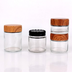 hot sell 1oz 2oz 4oz wide mouth  straight side child resistant jar for food cream storage with child proof water transfer bamboo lid