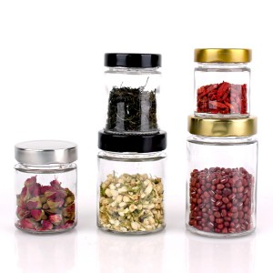Straight Side Wide Mouth Cylinder 120ml 200ml 300ml 400ml empty glass food honey jam jar with deep lug cap
