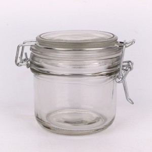 6oz clear glass storage jar with clip lid