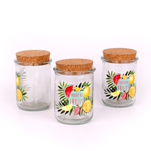 10oz 300ml glass candy jar for food storage with cork lid
