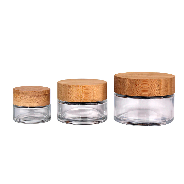Wholesale glass cream jars with bamboo lids