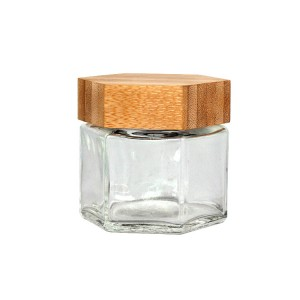 70ml Hexagon glass cosmetic facial cream jar with bamboo cap
