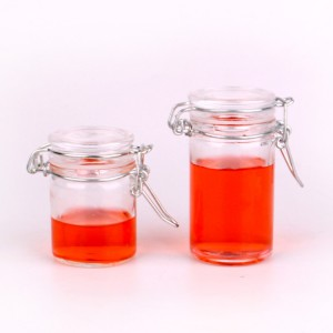 50ml 70ml cylinder food glass jar with clasp glass cap
