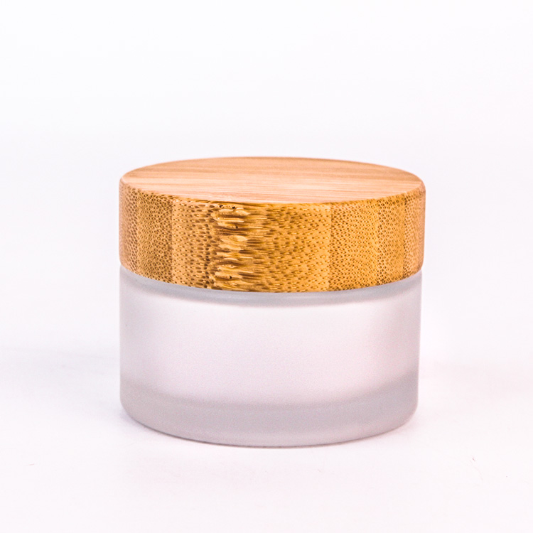 2oz Frosted Glass Cosmetic Cream Jar Bottle Refillable Glass Face Cream With Bamboo lids