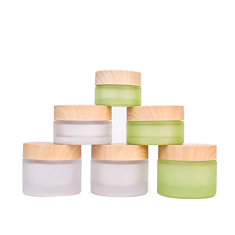 Luxury cosmetic packaging 20ml 40ml 60ml frosted round face cream glass cosmetic jar with plastic lid