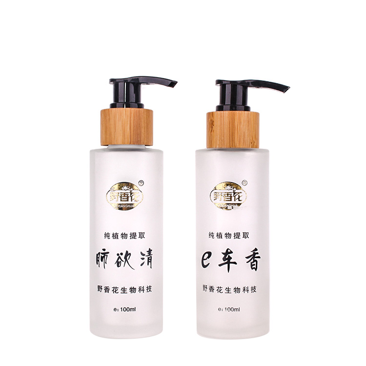 Custom 100ml Glass Lotion Bottle With Pump Latex Bottle Pump Emulsion Bottle Pump Featured Image