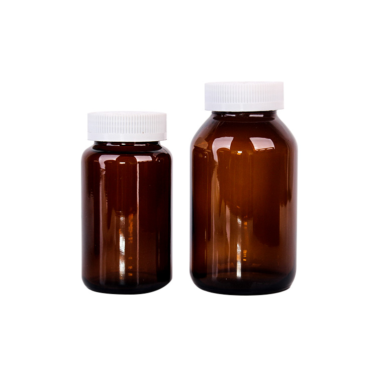 500ml pharmaceuticals amber glass bottle with white lid