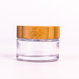 Professional Design Clear Glass Candy Jar With Lid - 60ml clear round glass cosmetic container with bamboo lid – Yanjia