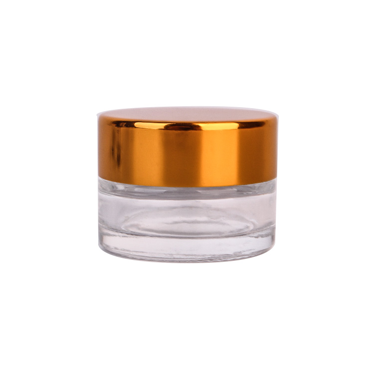 Hot Sale Small 10ml Cosmetic Glass Cream Jar with golden lid Featured Image