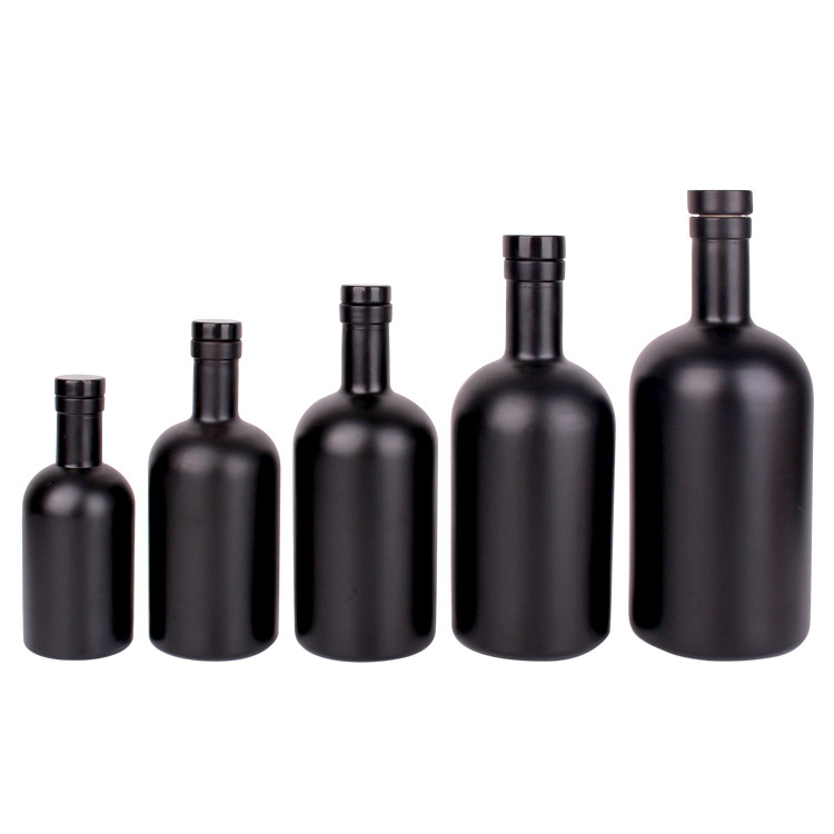 Custom 200ml 375ml 500ml 750ml 1000ml matte black liquor vodka whisky glass bottle with stopper