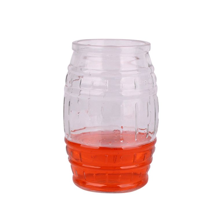 600ml drum shape glass beer juice cup with cork lid Featured Image