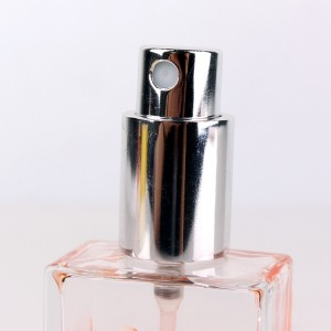 High quality square clear 30ml perfume glass bottle with lid