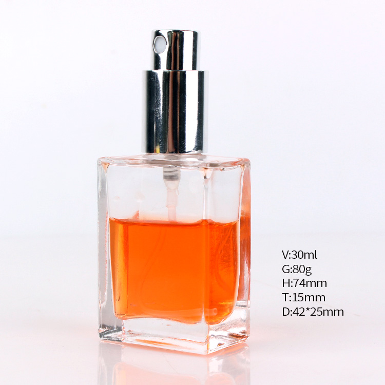 High quality square clear 30ml perfume glass bottle with lid Featured Image