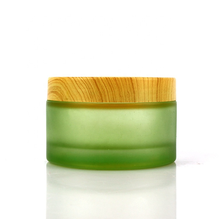 200ml empty green frosted glass cosmetic face cream jar with airtight screw lid