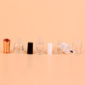 5ml 6ml 7ml 8ml 9ml small black white cap clear empty glass nail polish bottle