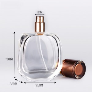 China manufacturer transparent empty  perfume glass bottle 100ml with uv luxury cap