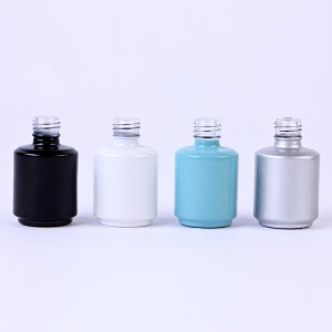 15ml 16ml 0.53oz Cylinder round white black printing empty custom large nail polish glass bottle
