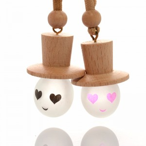 5ml empty wooden cap hanging car air freshener ball round mini perfume glass bottle