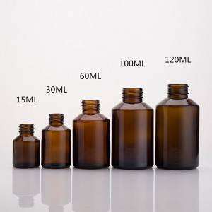 15ml 30ml 60ml 100ml 120ml amber essential oil bottle wide neck spray cosmetic glass empty bottles factory