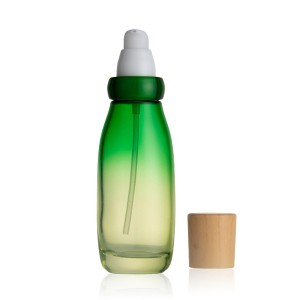 30g 50g /50ml 100ml 120ml new design leaf shape green coating glass cosmetic empty bottles with bamboo pattern plastic cap