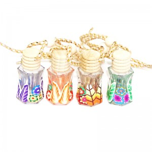 12ml wholesale empty designer wooden cap refillable hanging clay car perfume bottles glass