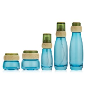 30g 50g 40ml 100ml 120ml blue coating glass cosmetic bottle set manufacturer