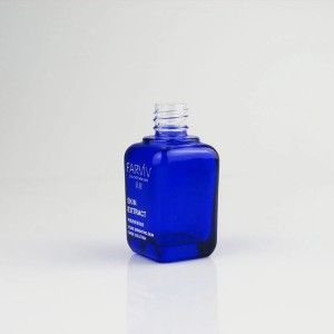 Coalt blue square essential oil bottle custom design cosmetic glass dropper bottle manufacturer