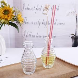 wholesale luxury 43ml unique design aroma fragrance reed diffuser glass bottle with fiber sticks