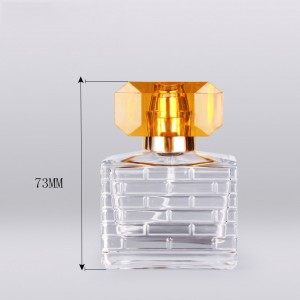 30ml clear square empty glass spray perfume bottle with high-end uv plastic cap