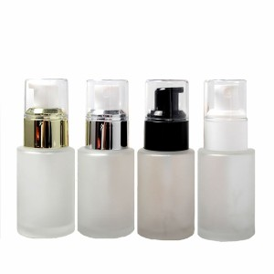30ml wholesale cylinder frosted glass serum empty bottle with pump spray