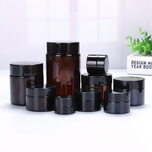 5g 10g 15g 30g 50g factory empty amber cosmetic cream jar with black lid