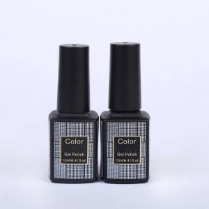 Hot-stamping logo print 12ml 0.4oz black square glass empty nail polish bottle