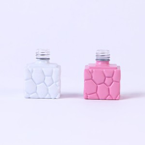 10ml wholesale cube square nail polish bottle pink empty glass bottle for nail gel