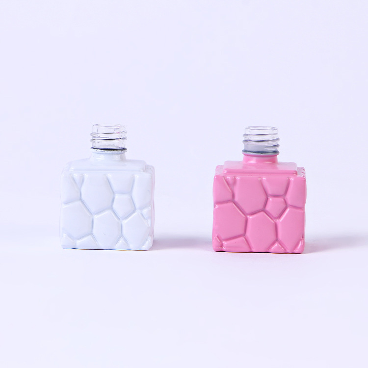 10ml wholesale cube square nail polish bottle pink empty glass bottle for nail gel Featured Image