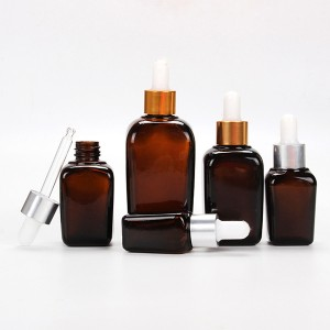15ml 25ml 30ml 50ml 100ml manufacture amber spray empty square glass dropper bottle for essential oil