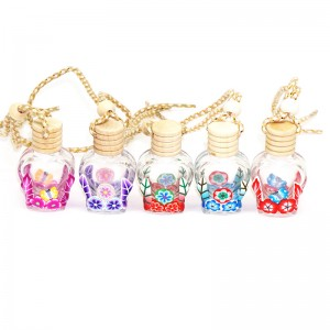 5ml factory heart shaped mini glass empty car diffuser perfume bottle hanging