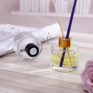 100ml wholesale round empty fragrance aroma diffuser glass bottle with screw gold cap