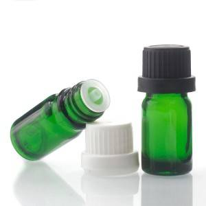 Wholesale cosmetic serum green color empty glass essential oil bottle 10ml
