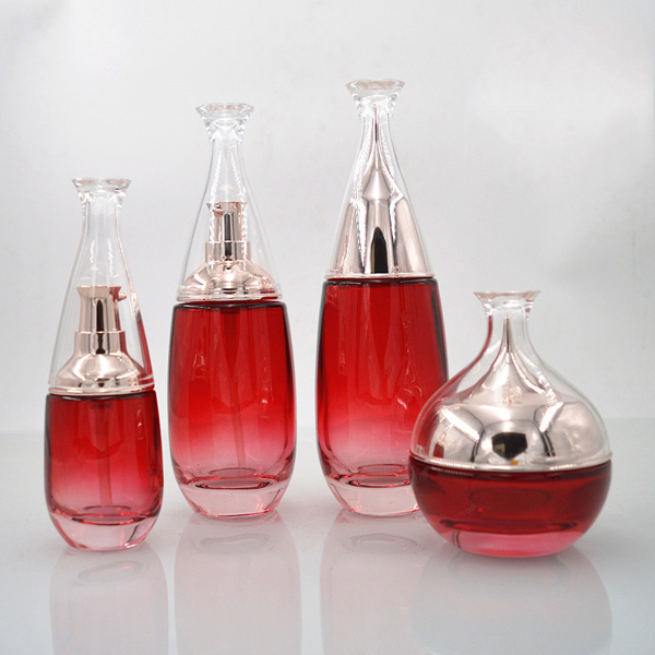 30g 50g /40ml 100ml 120ml gradient red custom color cosmetic glass bottle and jar Featured Image