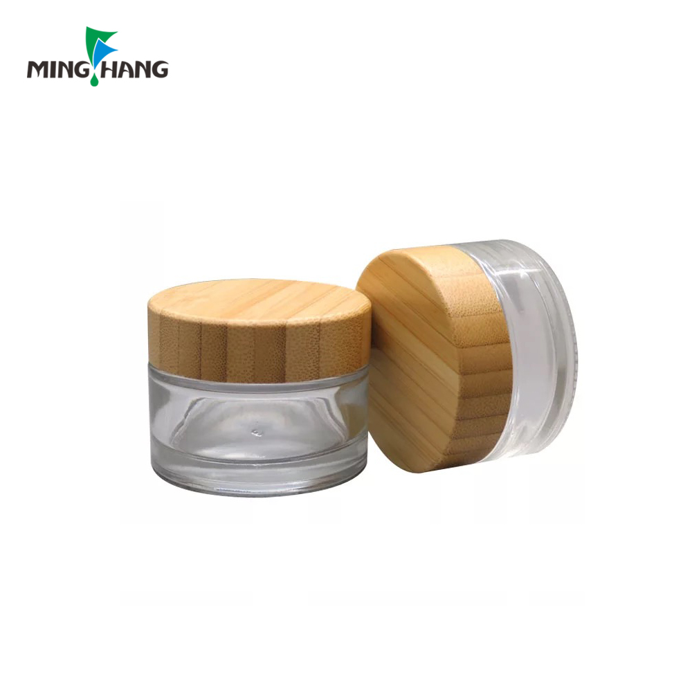 Environmental 30g 50g Glass Refillable Cosmetic Pot for Makeup Cream Facial Mask Container with bamboo cap