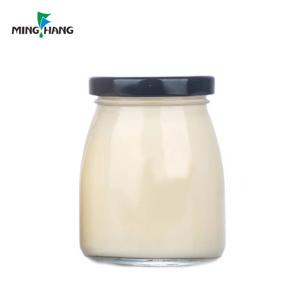 Clear glass pudding jar, Glass cute pudding container 100ml