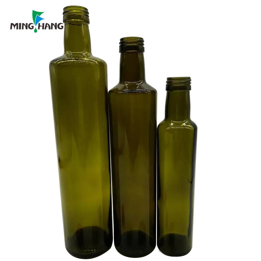 Olive oil bottle 250ml 500ml 750ml dark green glass bottles 1000ml with screw aluminum lid