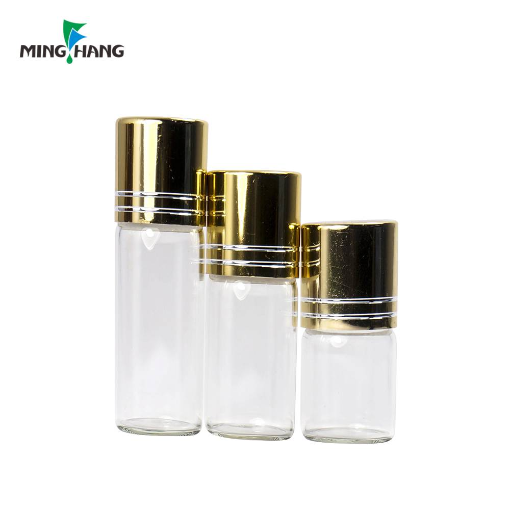 custom color glass mini vial bottles sample test tube with screw caps