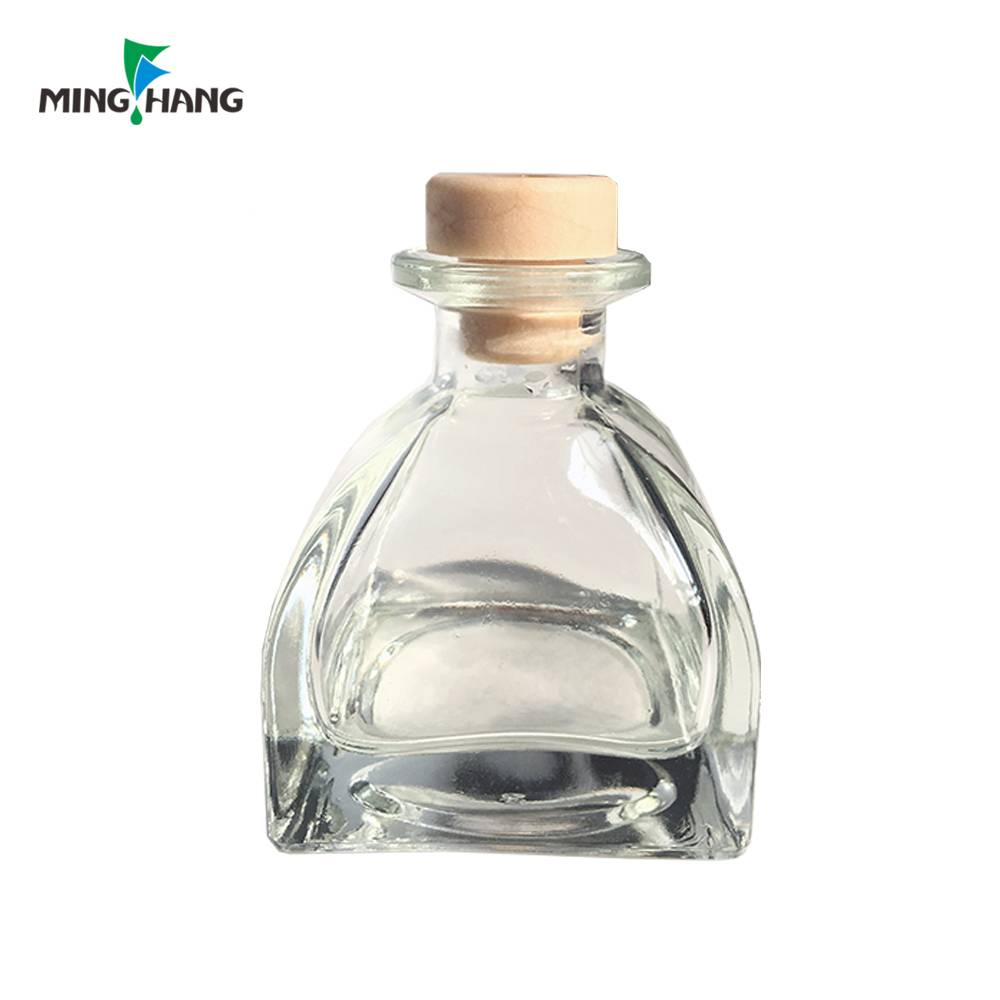 Wholesale clear empty Aroma reed diffuser glass Bottle with cork for air freshening