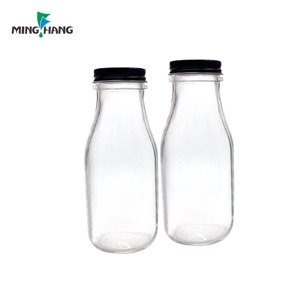 300ml square milk glass bottle with metal lid