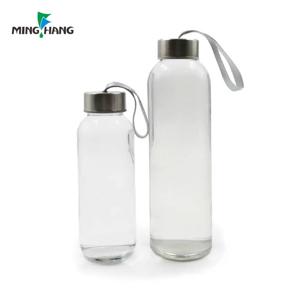 High quality sport glass drinking bottle with aluminum cap