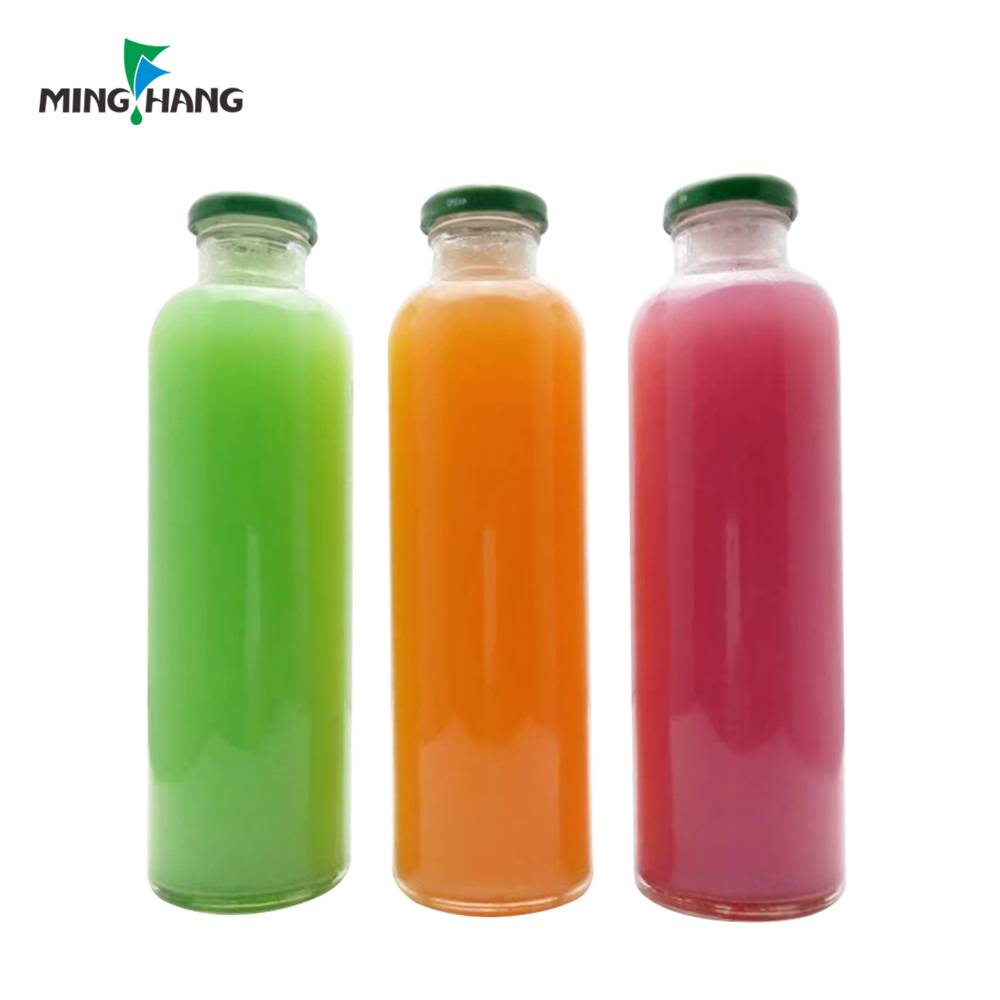 Round glass beverage bottles food grade beverage container with caps