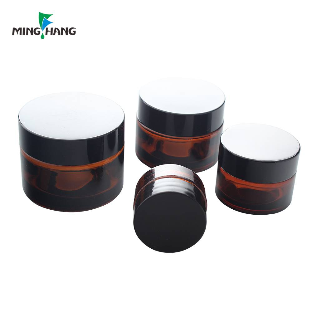 Skin cream packaging amber empty cosmetic glass jar